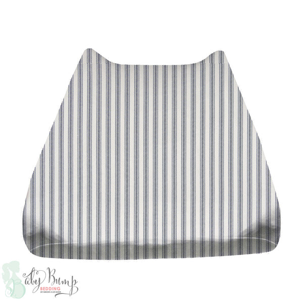 Navy & White Ticking Stripe Baby Changing Pad Cover