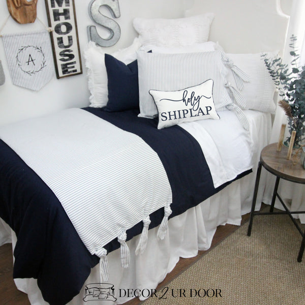 Farmhouse Navy & White Ticking Stripe & Ties Dorm Bedding Set