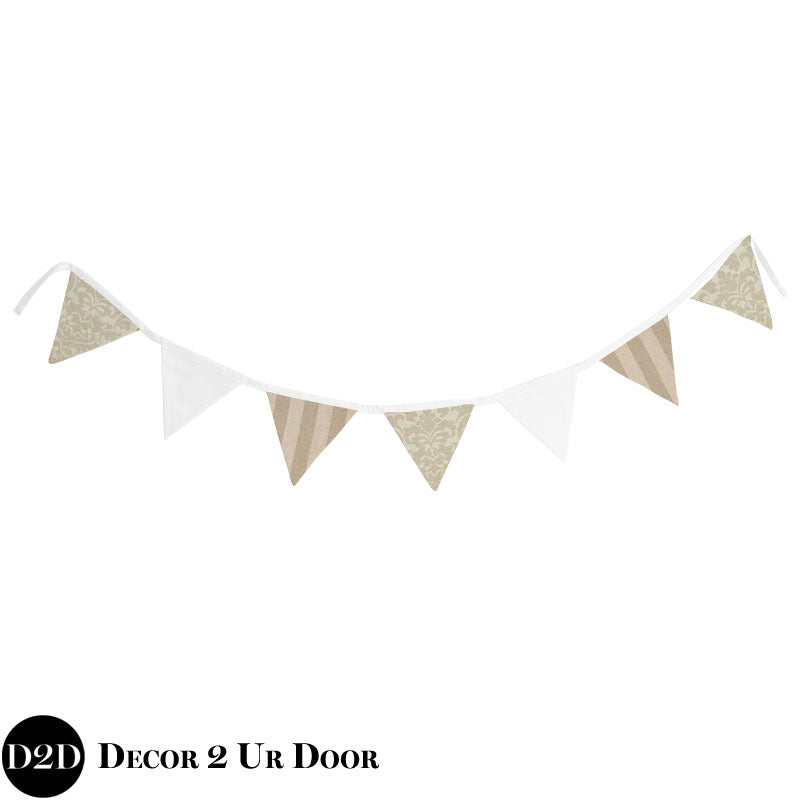 Neutral Tan Damask & White Wall Fabric Pennant Banner