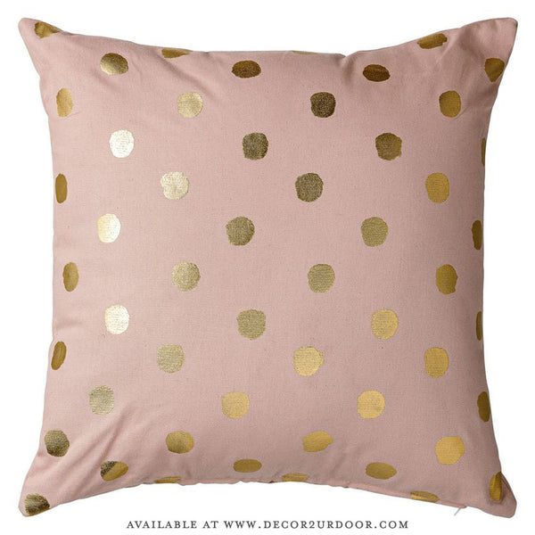 Nude & Metallic Gold Dots Cotton Square Pillow