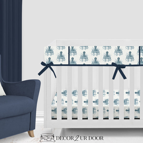 Navy Octopus Bumperless Crib Bedding Set