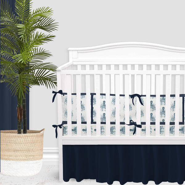 Navy Octopus Baby Boy Crib Bedding Set