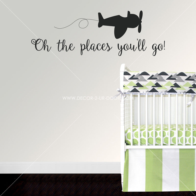 Oh The Places You'll Go Large Plane Vinyl Wall Decal
