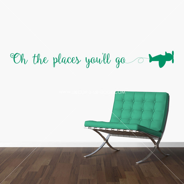 Oh The Places You'll Go Small Plane Vinyl Wall Decal