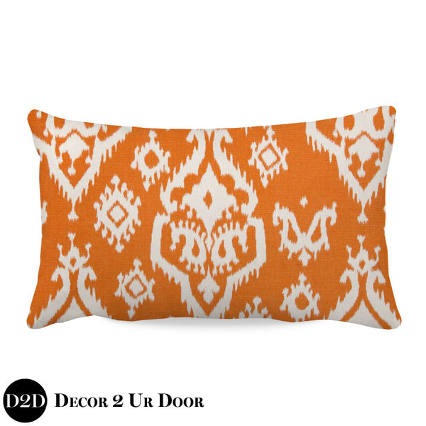 Orange Ikat Lumbar Nursery Throw Pillow Cover