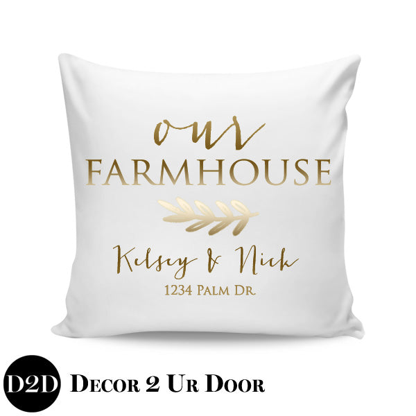Our Farmhouse, Names + Address Personalized Farmhouse Square Throw Pillow Cover