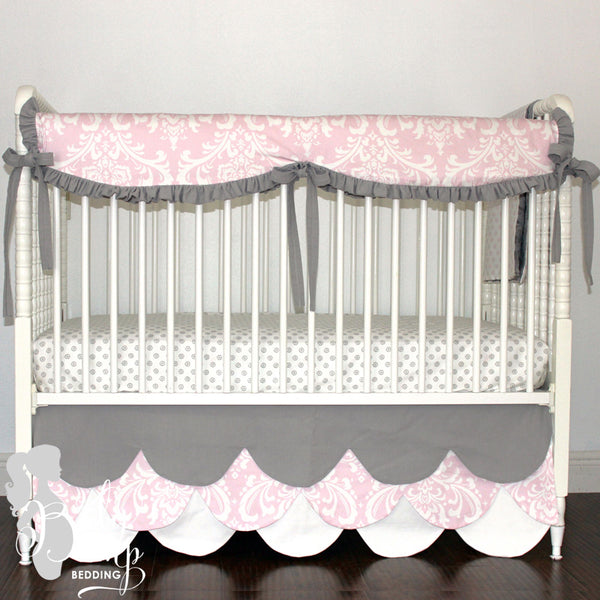Pale Pink, White & Gray Baby Girl Crib Bedding Set