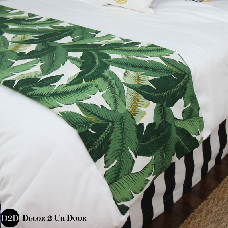 Palm Leaf Print Bed Scarf
