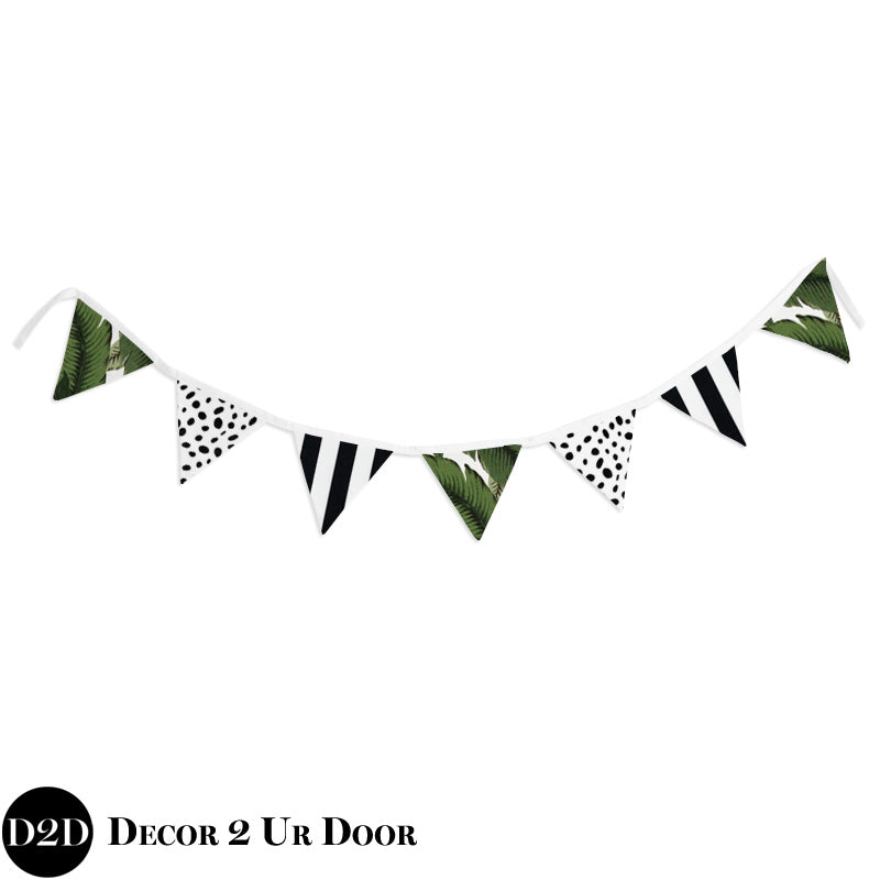 Palm Leaf, Black & White Wall Fabric Pennant Banner