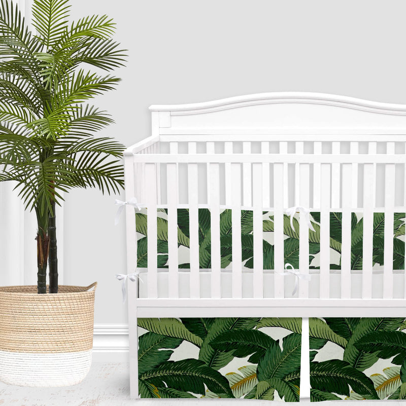 Palm Leaf Print 2-in-1 Crib Bumper/Rail Cover
