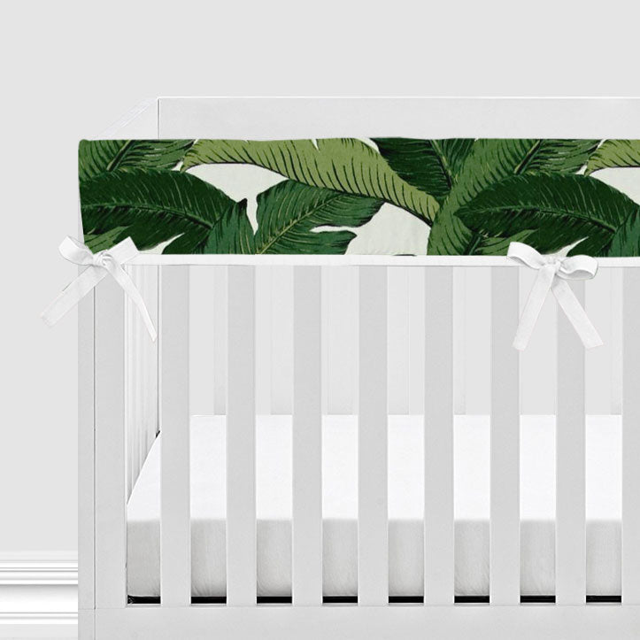 Palm Leaf Print Baby Crib Rail Cover