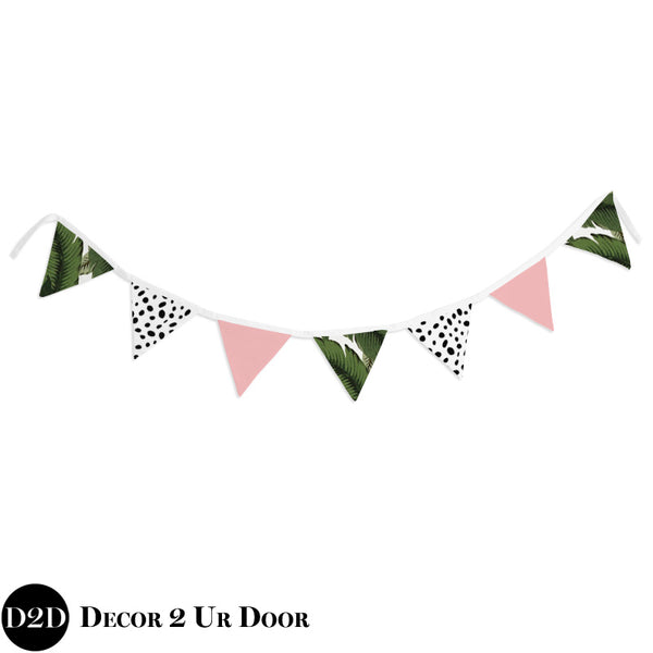 Palm Leaf & Blush Pink Wall Fabric Pennant Banner