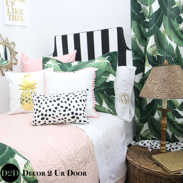 Palm Leaf Print & Blush Pink Pillow Pile