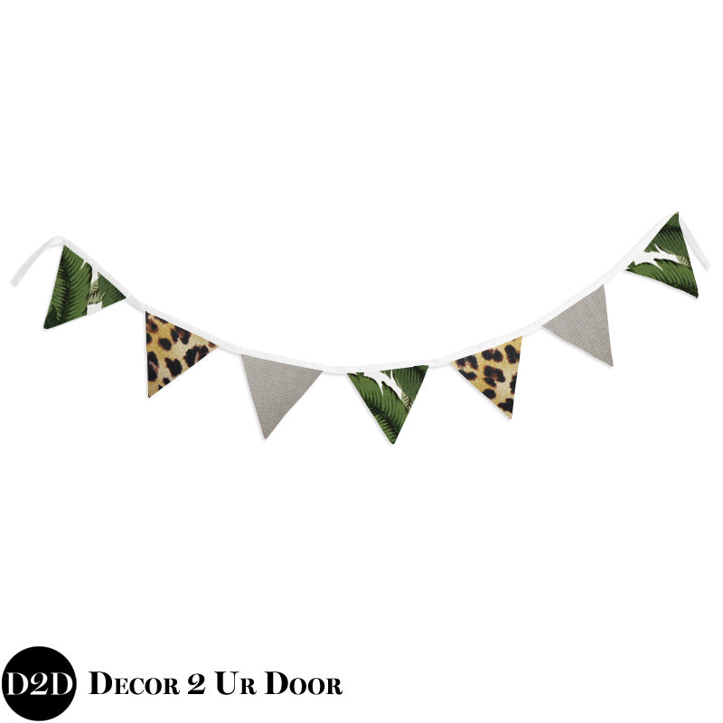 Palm Leaf & Cheetah Print Wall Fabric Pennant Banner