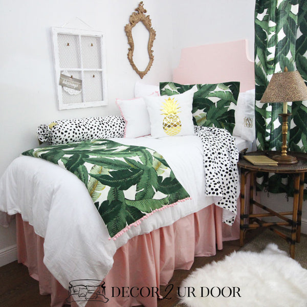 Tropical Palm Blush Dorm Bedding Set