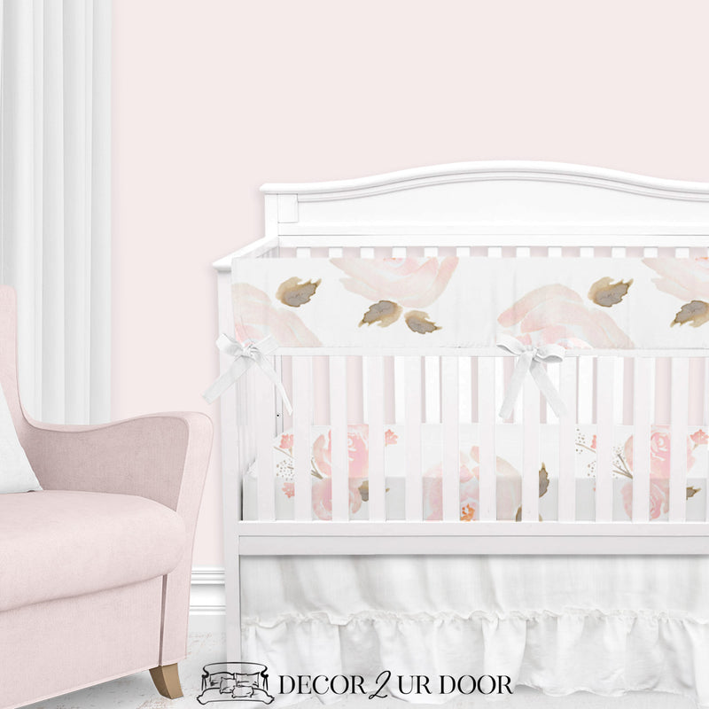 Pastel Floral Baby Girl Crib Bedding Set
