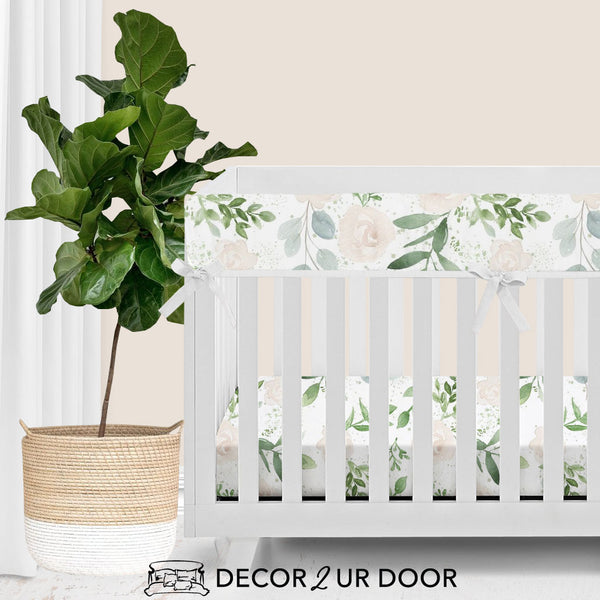 Pastel Floral & Eucalyptus Bumperless Crib Bedding Set