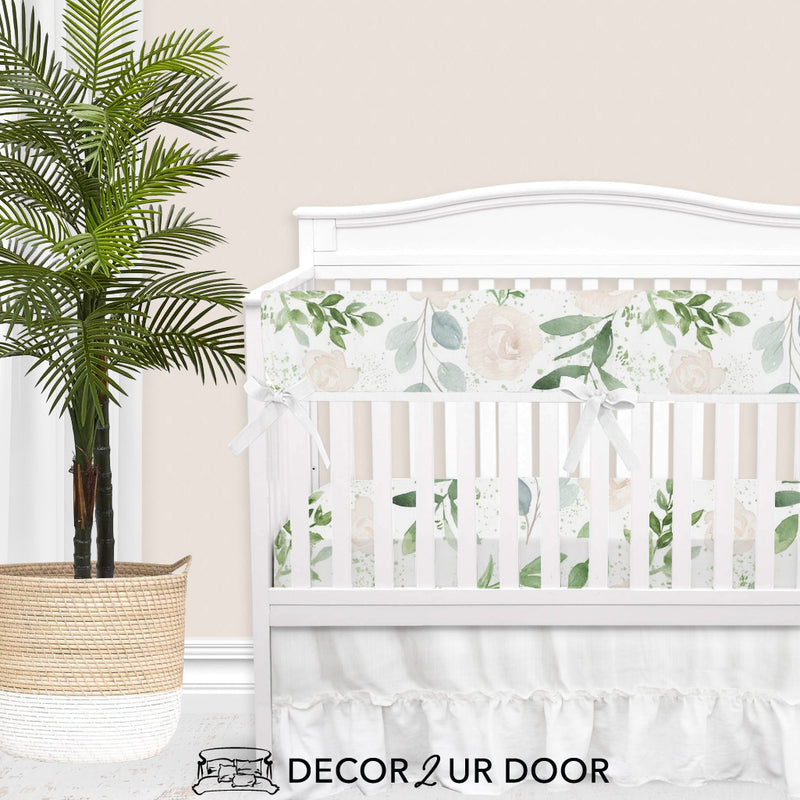 Pastel Floral & Eucalyptus Baby Crib Rail Cover