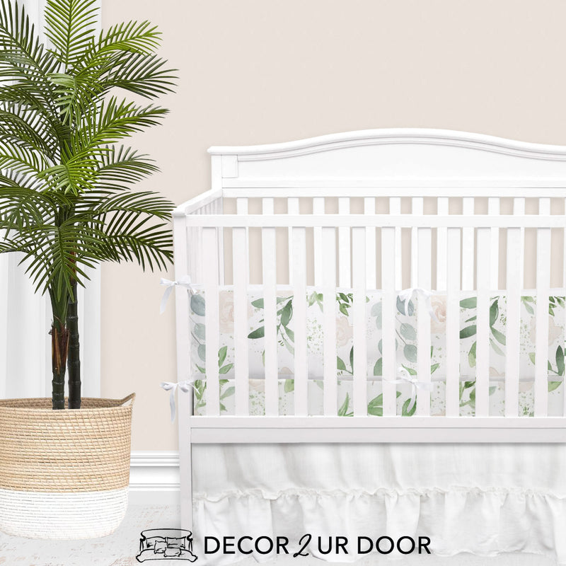 Pastel Floral & Eucalyptus 2-in-1 Crib Bumper/Rail Cover