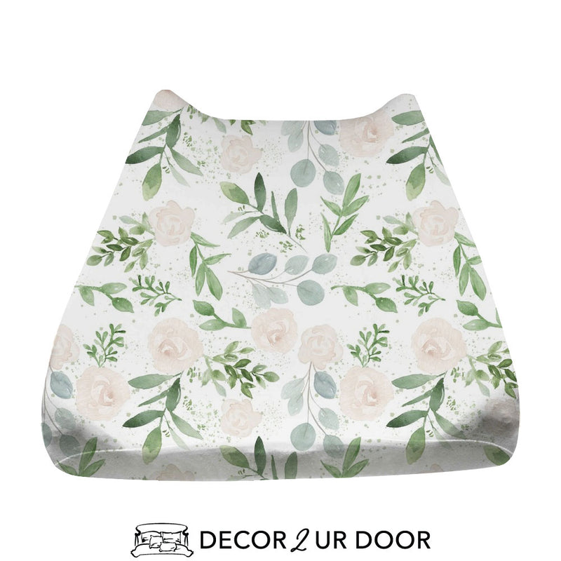 Pastel Floral & Eucalyptus Baby Changing Pad Cover