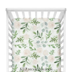 Pastel Floral & Eucalyptus Fitted Crib Sheet
