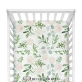 Pastel Floral & Eucalyptus Baby Girl Crib Bedding Set