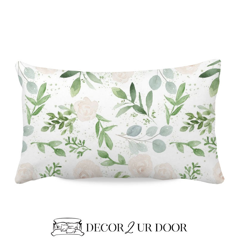 Pastel Floral & Eucalyptus Lumbar Nursery Throw Pillow Cover