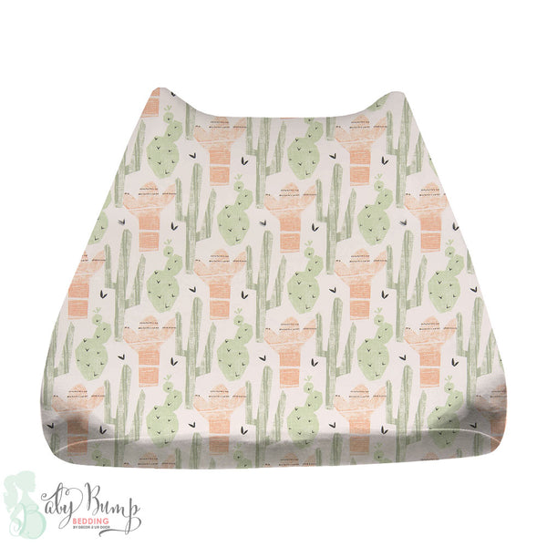 Peach & Green Cactus Baby Changing Pad Cover