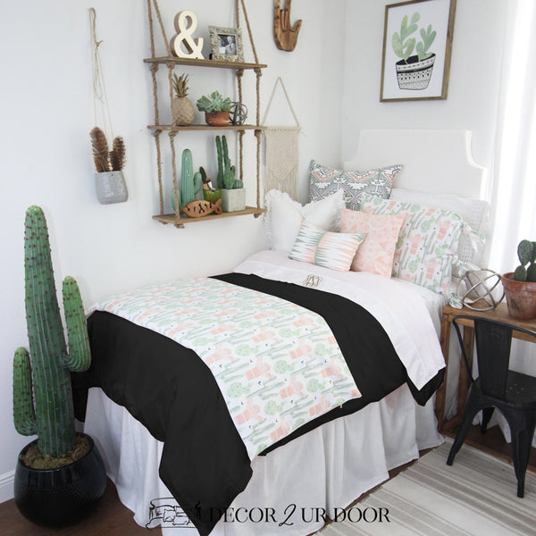 Peach & Green Cactus Designer Bedding Collection