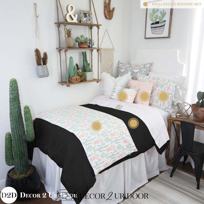 Peach & Green Cactus Dorm Bedding Set