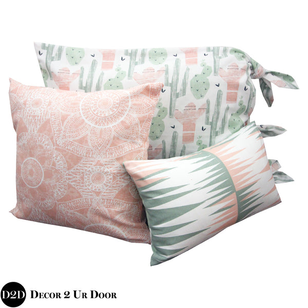 Peach & Green Cactus Print Pillow Pile