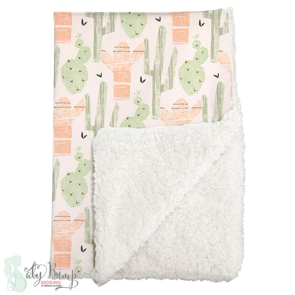 Peach & Green Cactus Sherpa Baby Blanket
