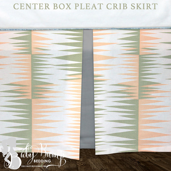 Peach, Green & Grey Baby Crib Skirt