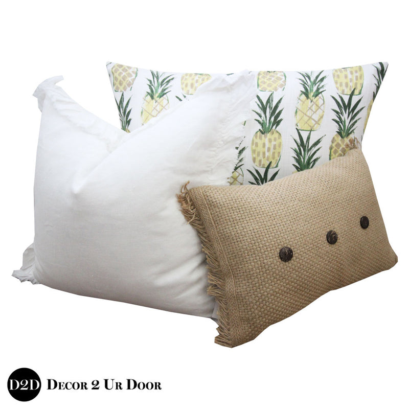 Tan & Pineapple Print Pillow Pile