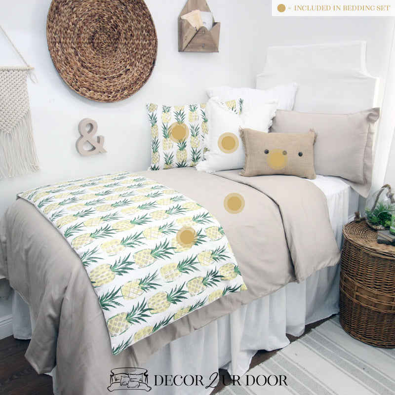 Pineapple Print Dorm Bedding Set
