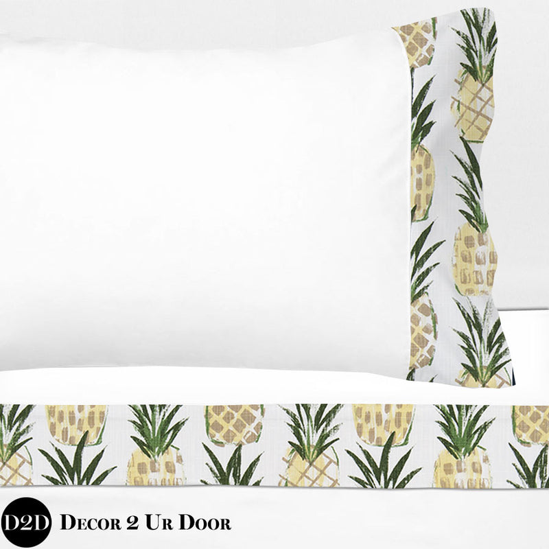 Pineapple Print 100% Cotton Banded Sheet Set
