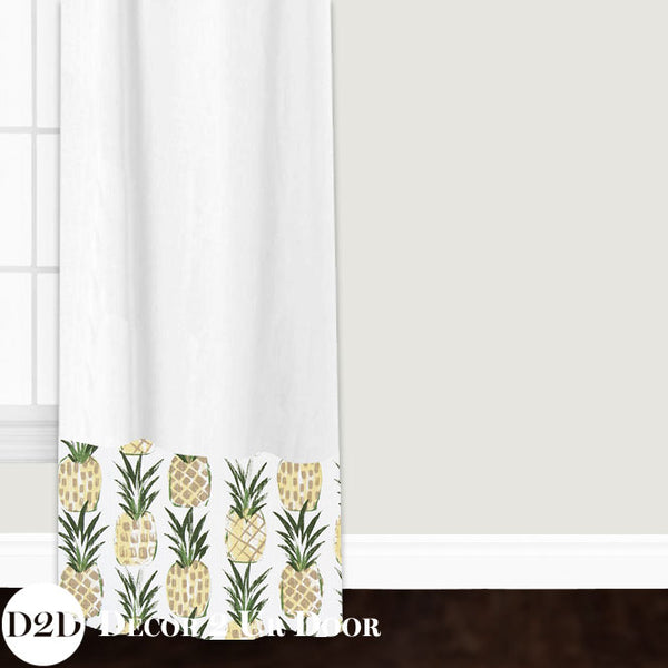 White & Pineapple Print Custom Window Curtain/Closet Panel