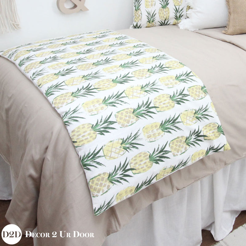 Tan, White & Yellow Pineapple Print Designer Bedding Collection