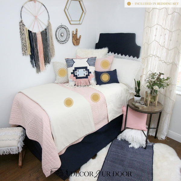 Pink & Navy Boho Dorm Bedding Set