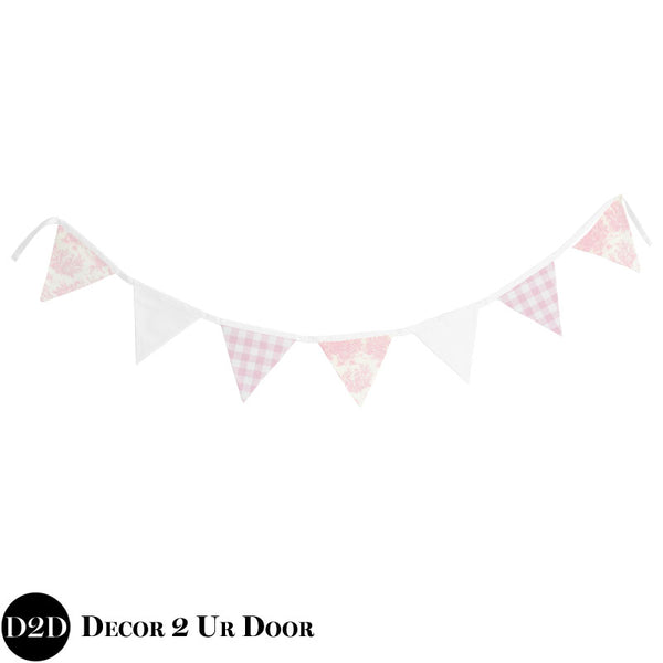 Pink Toile & Gingham Plaid Wall Fabric Pennant Banner