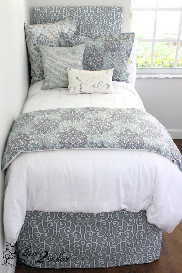 Whimsical Plum & White Dorm Bedding Set