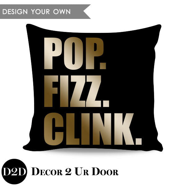 Pop Fizz Clink Block Square Throw Pillow Cover