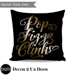 Pop Fizz Clink Square Throw Pillow Cover