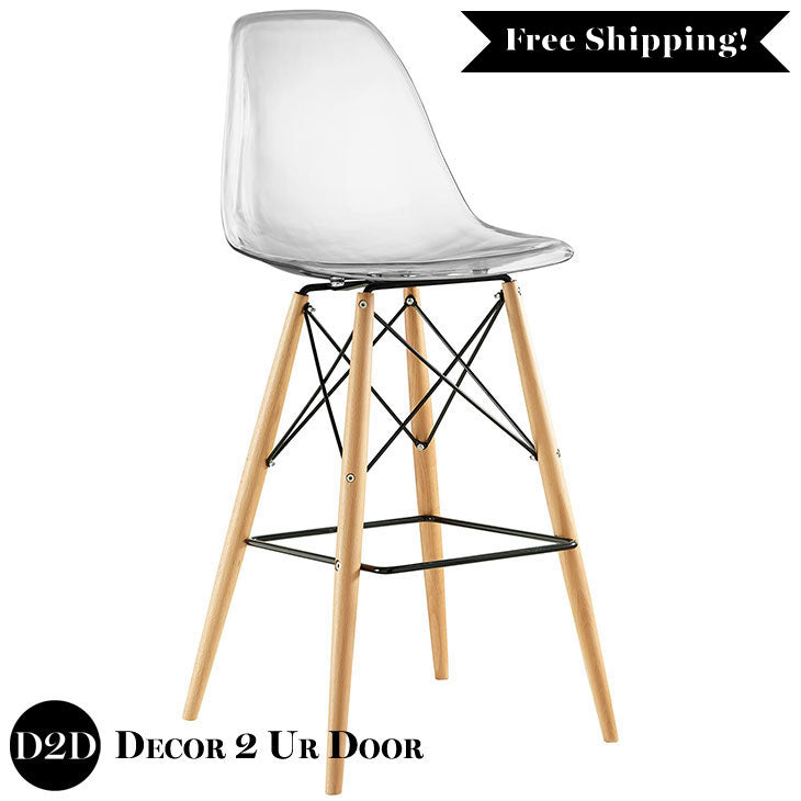 Modern Clear Acrylic Ghost Bar Stool with Wooden Legs