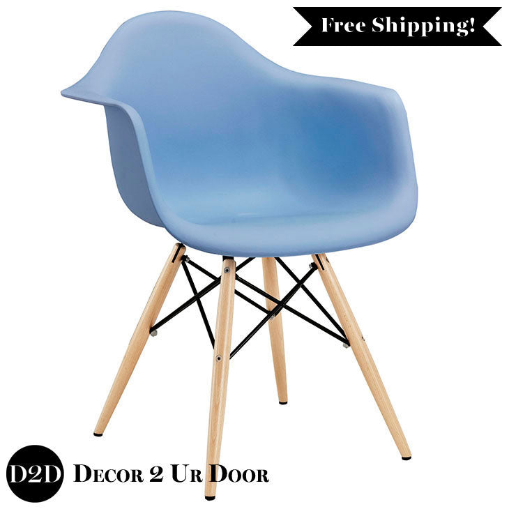 Modern Plastic Molded Armchair with Wooden Legs