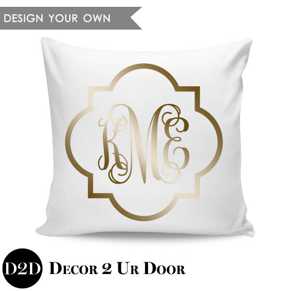 Quatrefoil Border Monogram Square Personalized Pillow Cover