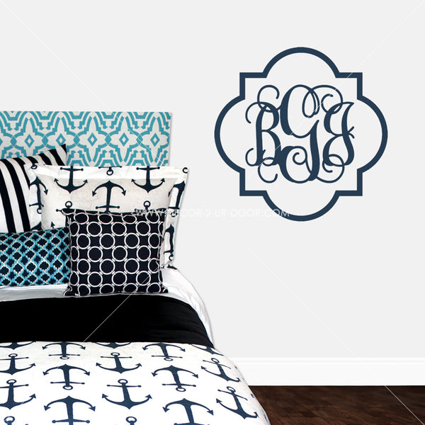Quatrefoil Border Monogram Personalized Vinyl Wall Decal