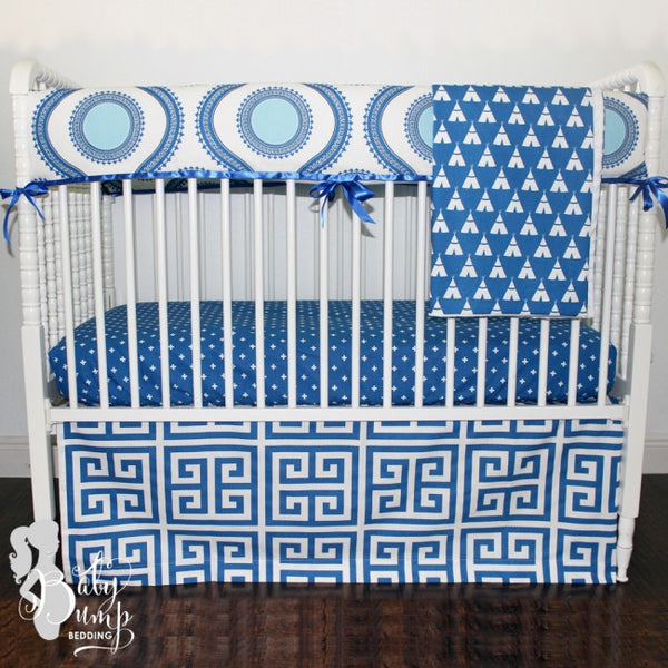 Cobalt Blue Susette Gender Neutral Baby Crib Bedding Set