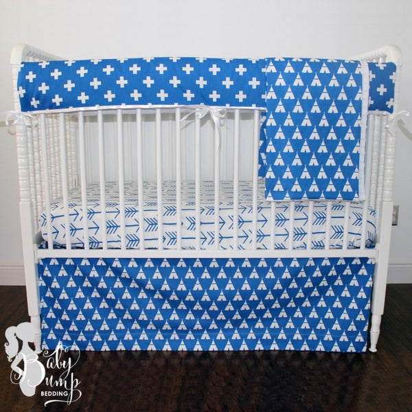 Cobalt Blue Swiss Cross & Teepee Crib Bedding Set