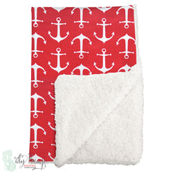 Red & White Anchors Nautical Sherpa Baby Blanket